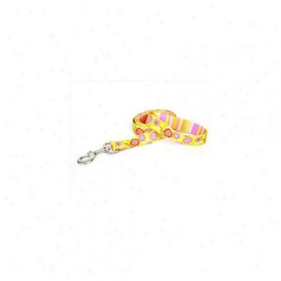 Yellow Dog Design Bqp105ld Green Bouquet Attending Pink Stripe Lead - 3/4 Inch X 60 Inch