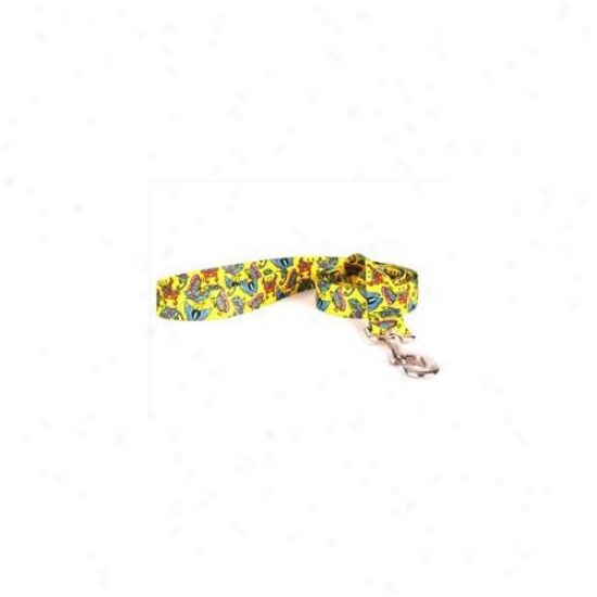 Yelkow Dog Design Bty104ld 3/8 Inch X 60 Inch Butterflies Forward Yellow Lead