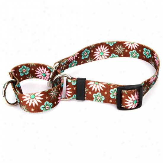 Yellow Dog Design Pink And Teal Flowers Martingale Collar