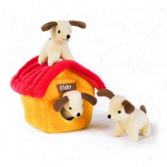 Zippy Burrow Dog House Squeaky Plush Hide-and-seek Dog Toy