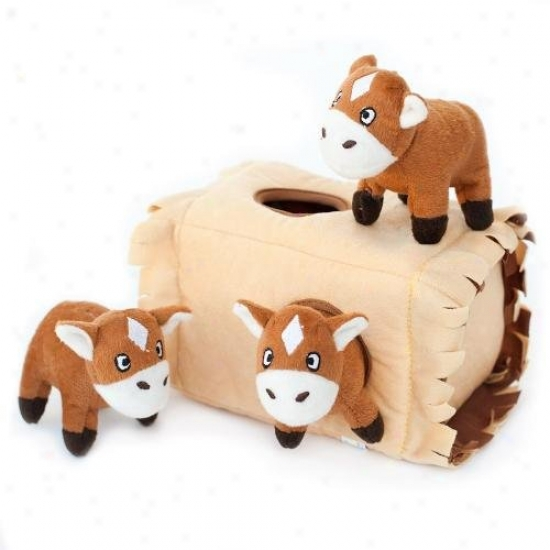Zippy Burrow Horse 'n Hay Squeaky Plush Hide-and-seek Dog Toy