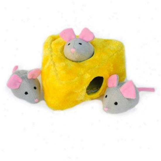 Zippy Burrow Interactke Squeaky Plush Hide-and-seek Dog Play Mice 'n Cheese