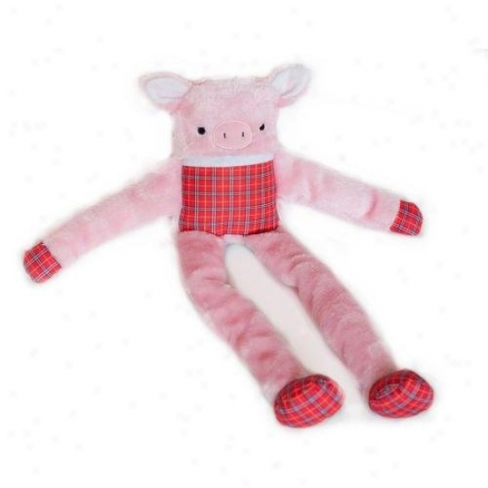 Zipoypwws Lanky Squeaky Plush Dog Toy Pig