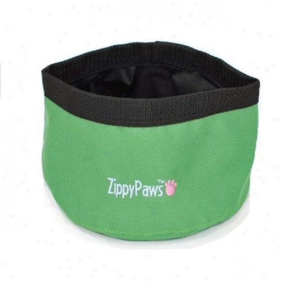 Zippypaws Portable Travel Bowl For Food Or Water Large Green
