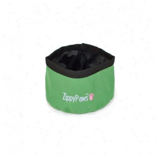 Zippypaws Portable Travel Bowl For Fiod Or Water Small Green