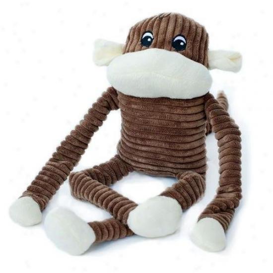 Zippypaws Spencer The Crinkle Monkey Squeaky Plush Dog Toy Xl Brown