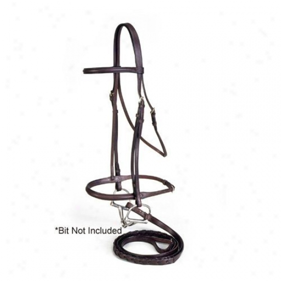 Equiroyal Premium Leather Raiised Snaffle Bridle With Laced Reins
