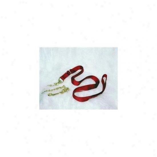 Hamilton Halter Company - Nylon Lead With Chain &am;; Crack - Red 7 Feet - 17d24 Rd