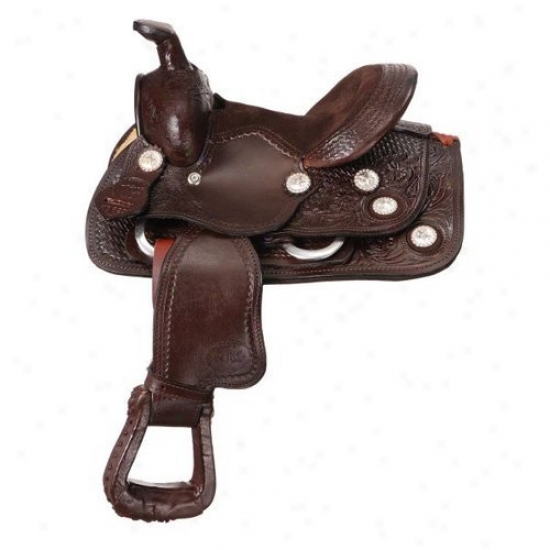 Sovereign Series Miniature Western Tooled Trail Saddle With Conchos