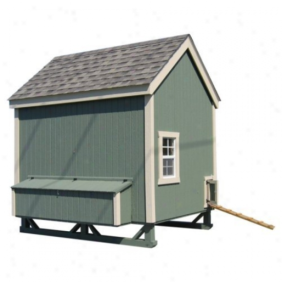 Littlw Cottage Unpainted Colonial Gable Chicken Coop - Large