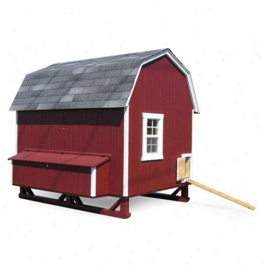 Little Cottage Unpainted Gambrel Barn Chickeh Confine - Large 6 X 8 Ft.