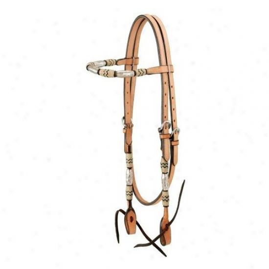 Royal King Browband Headstall With Braided Rawhide And Silver Balls