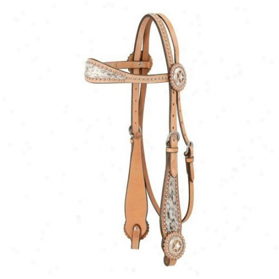 Royal King Browband Headstall With Spotted Hair Overlay