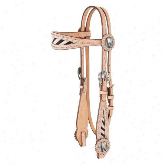 Royal King Premium Cowhide Flared aBsket Weave Wide Brow Headstall With Hair On Animal Prints