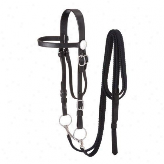 Tough-1 Draft Horse Bridle With Cotton Split Reins And Snaffle