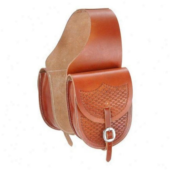 Tough-1 Leather Saddle BagW ith Basket Stamp