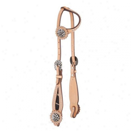 Tough-1 Premium Cowhide Flared Baskwt Weave Single Ear Headstall With Hair On Animal Ptints