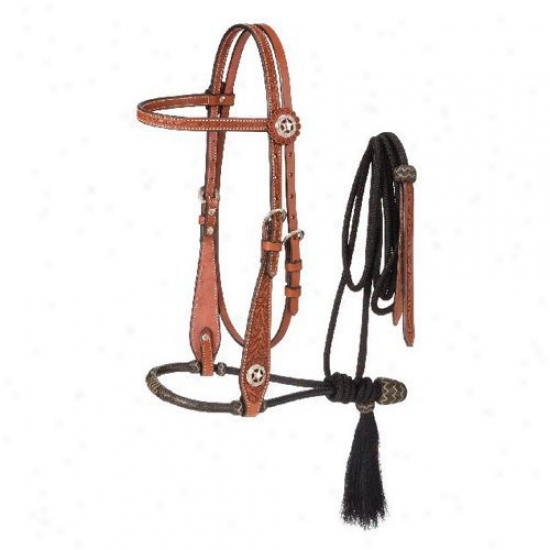 Tough-1 Premium Leather Floral Browband Headstall With 3/8 In. Two-tone Bosal And Cord Mecate