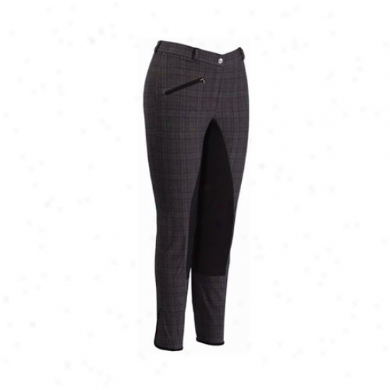 Tuffrider Ladies Ecogreen Bamboo Plaid Full Seat Breeches