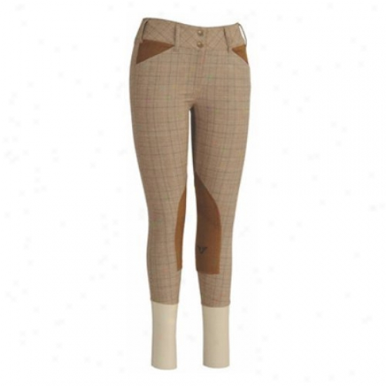 Tuffrider Ladies Highland Bamboo Choflate Plaid With Euroseat Knee Patch Breeches