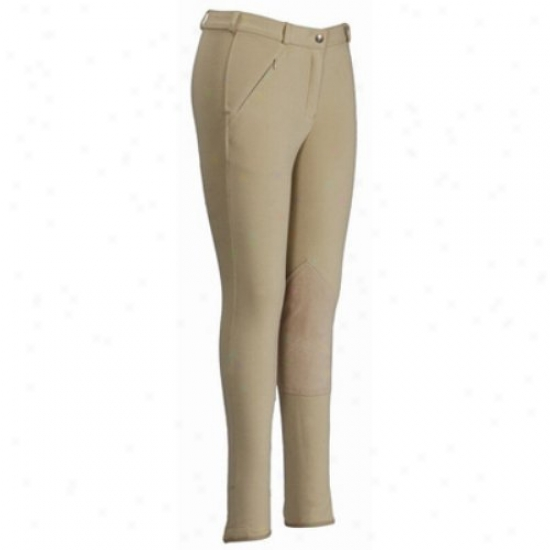 Tuffrider Ladies Light Cotton Lowrise Knee Patch Long Breeches