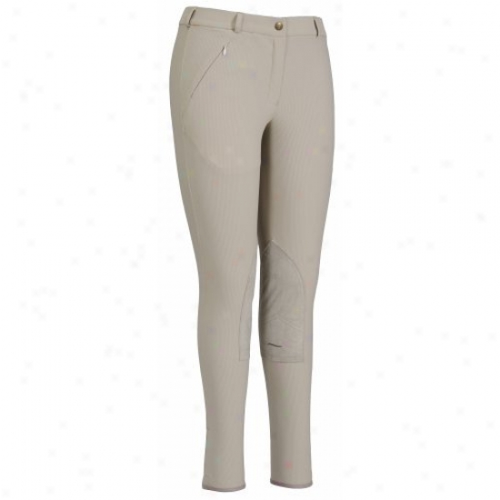 Tuffrider Ladies Light Cotton Lowrise Knee Patch Regu1ar Breeches