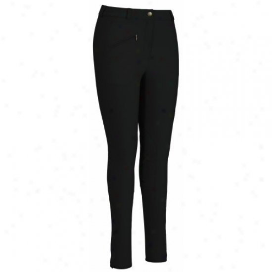 Tuffrider Ladies Ribb Knre Patcu Regular Breeches