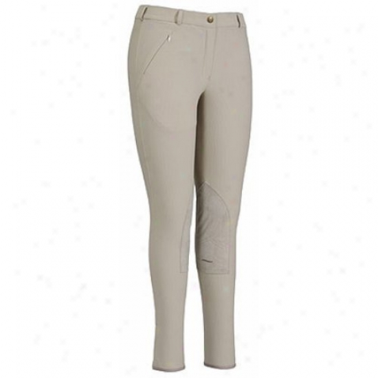 Tuffrider Ladies Ribb Lowrisw Knee Patch Long Breeches
