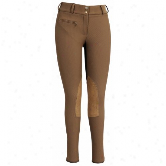 Tuffrider Ladies Ribb Lowrise Spacious Waistband Knee Patvh Regular Breeches