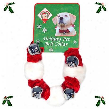 "Christmas Holiday Collar, Red Velvet & White Faux Fur With Bells, Medium 6""-12quot;"