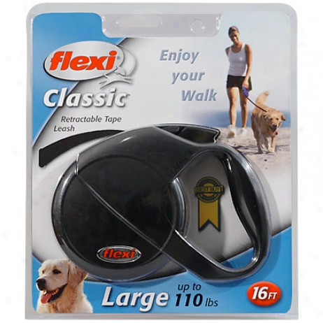 Flezi Classic Iii Black Retractable 16' Tape Leash For Big Dogs Up To 110 Lbs.