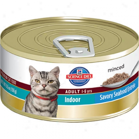 Hill's Scienve Diet Adult Indoor Savory Entr3e Minced Canned Cat Food