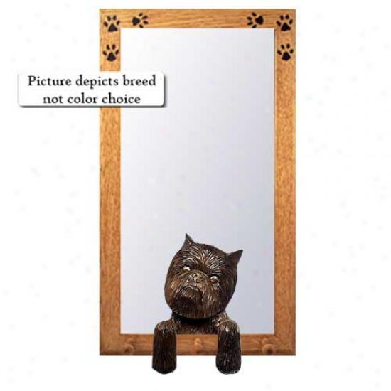 Affenpinscher Hall Mirror With Oak Natural Frame With Oak Natural Frame