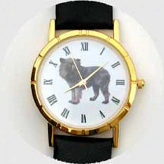 Affenpinscher Watch - Small Face, Black Leather
