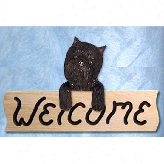 Affenpinscher Welcome Sign Oak