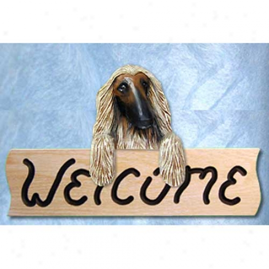 Afghan Hound Fawn Welcome Sign Oak