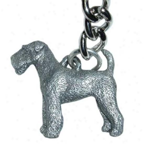 Airedale Terrier George Harris Pewter Keychain