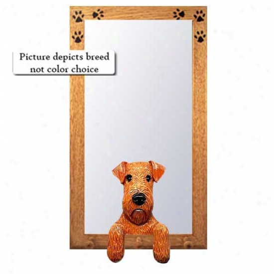 Airedale Terrier Hall Mirror Attending Basswood Walnut Frame