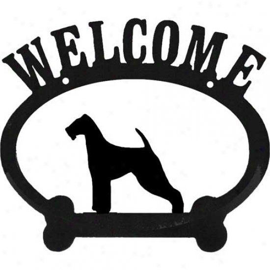Airedale Terrier Metal Welcome Sign