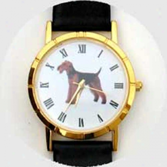Airedale Terrier Watch - Small Face, Black Leather