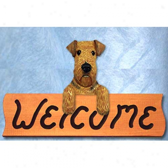 Airedale Terrier Welcome Sign Maple