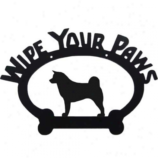 Akita Wipe Your Paws Decorative Sign