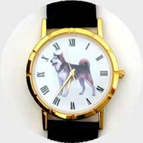 Alaskan Malamute  Watch - Large Put a ~ , Wicked Leather
