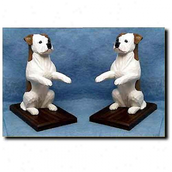 American Bulldog Bookends Red And White