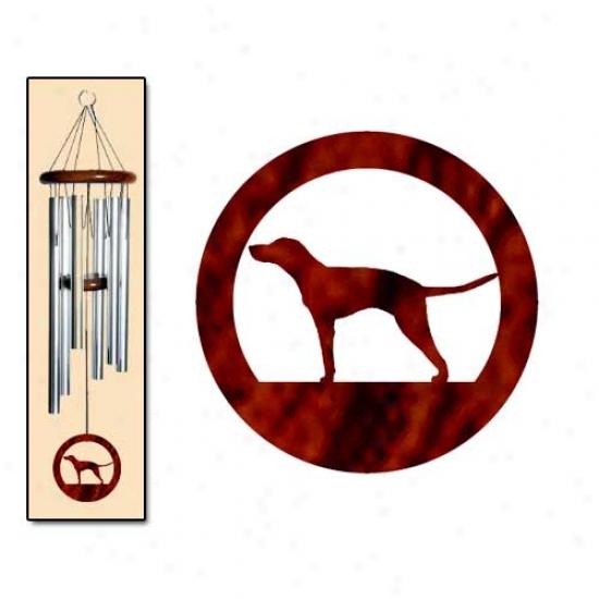 American English Coonhound Wind Chimes Medium Silver