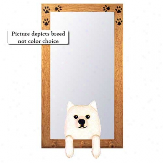 American Eskimo Dog Large room Mirror With Basswood Pine Frame