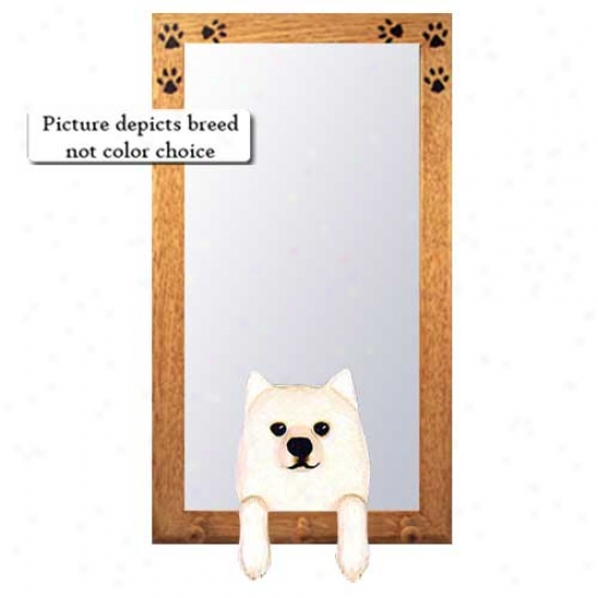 American Eskimo Dog Hall Mirror With Basswood Walnut Frame