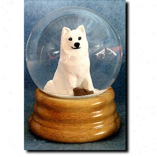 American Eskimo Dog Musical Snow Globe