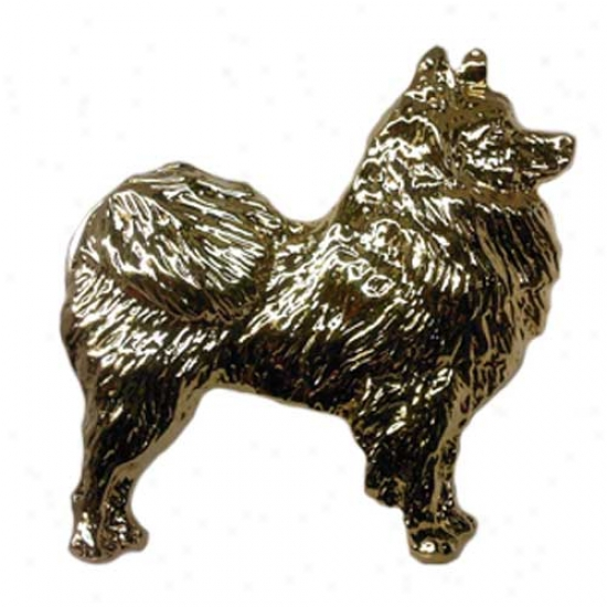 American Eskimo Dog Pin 24k Gold Plated