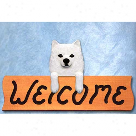 American Eskimo Dog Welcome Sign Maple
